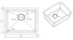 R14-S2318-16 Sink Size Drawing